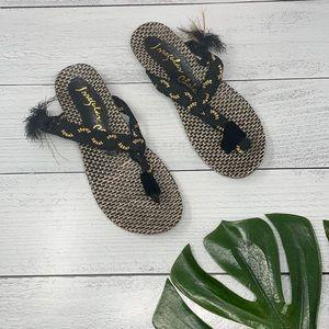 Irregular Choice Black and Gold Sandals 9/9.5 G5